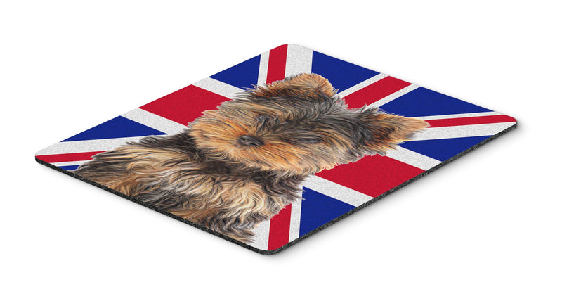 Buy this Yorkie Puppy / Yorkshire Terrier with English Union Jack British Flag Mouse Pad, Hot Pad or Trivet KJ1167MP