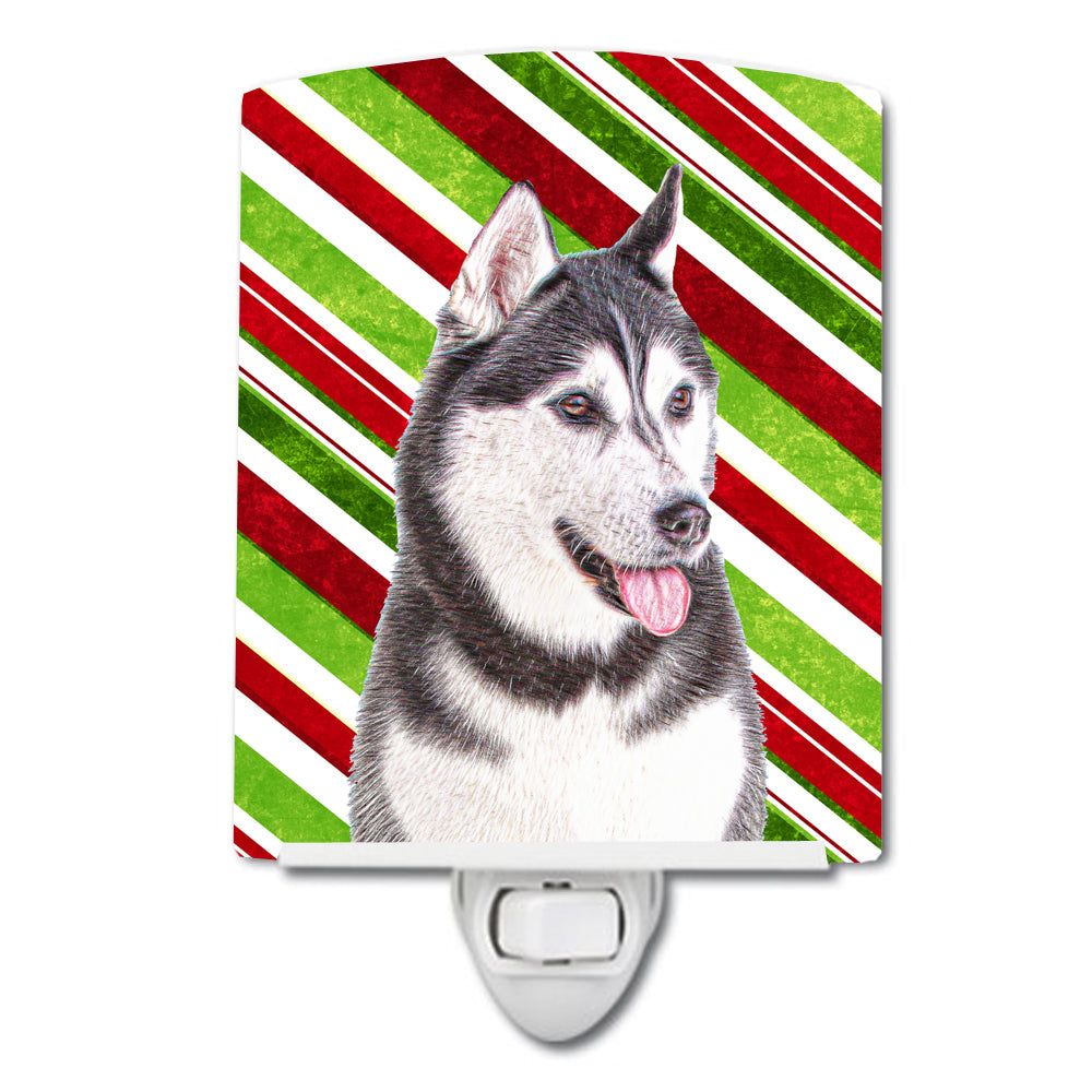 Candy Cane Holiday Christmas Alaskan Malamute Ceramic Night Light KJ1168CNL by Caroline's Treasures