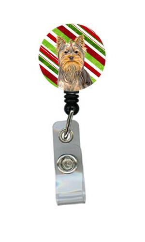 Candy Cane Holiday Christmas Yorkie / Yorkshire Terrier Retractable Badge Reel KJ1170BR by Caroline's Treasures