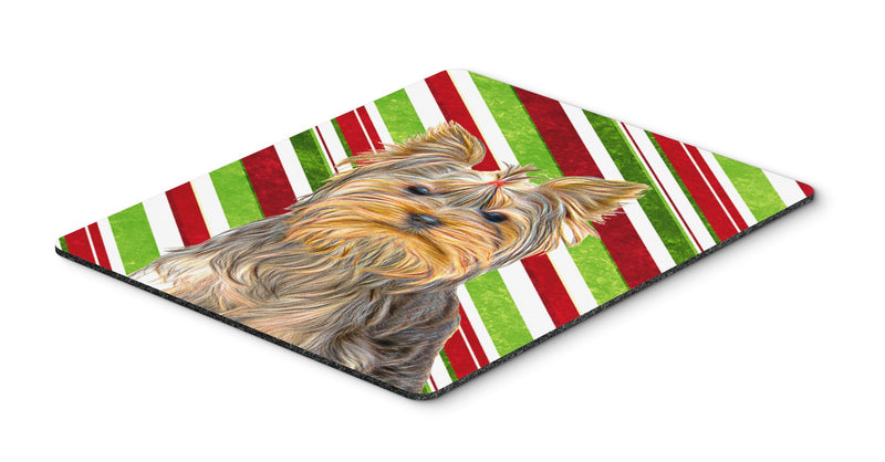 Buy this Candy Cane Holiday Christmas Yorkie / Yorkshire Terrier Mouse Pad, Hot Pad or Trivet KJ1170MP
