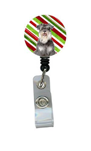 Candy Cane Holiday Christmas Schnauzer Retractable Badge Reel KJ1171BR by Caroline's Treasures