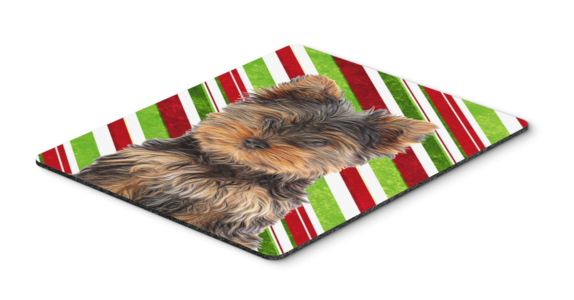 Buy this Candy Cane Holiday Christmas Yorkie Puppy / Yorkshire Terrier Mouse Pad, Hot Pad or Trivet KJ1174MP