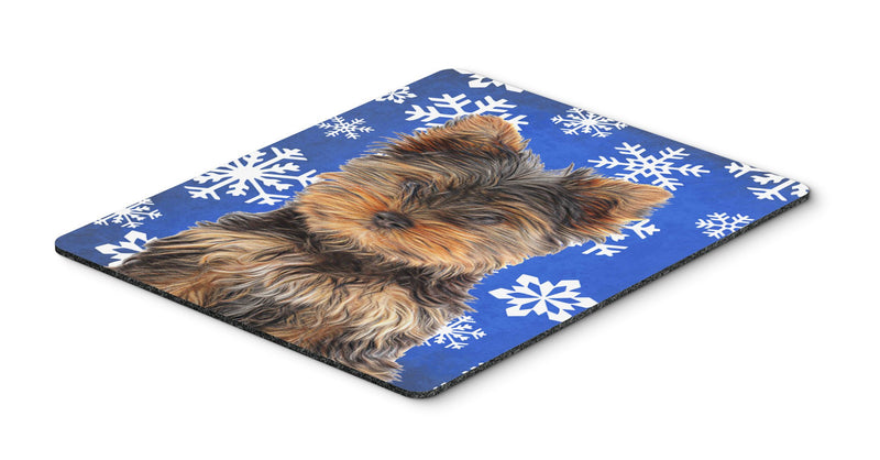 Buy this Winter Snowflakes Holiday Yorkie Puppy / Yorkshire Terrier Mouse Pad, Hot Pad or Trivet KJ1181MP