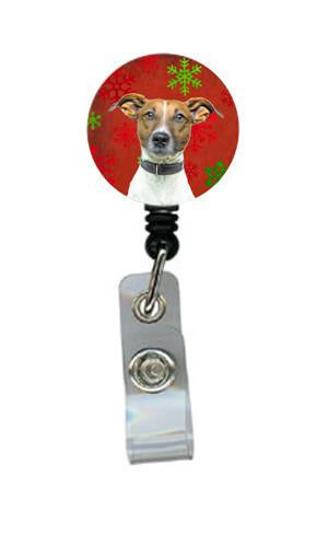 Red Snowflakes Holiday Christmas  Jack Russell Terrier Retractable Badge Reel KJ1183BR by Caroline's Treasures