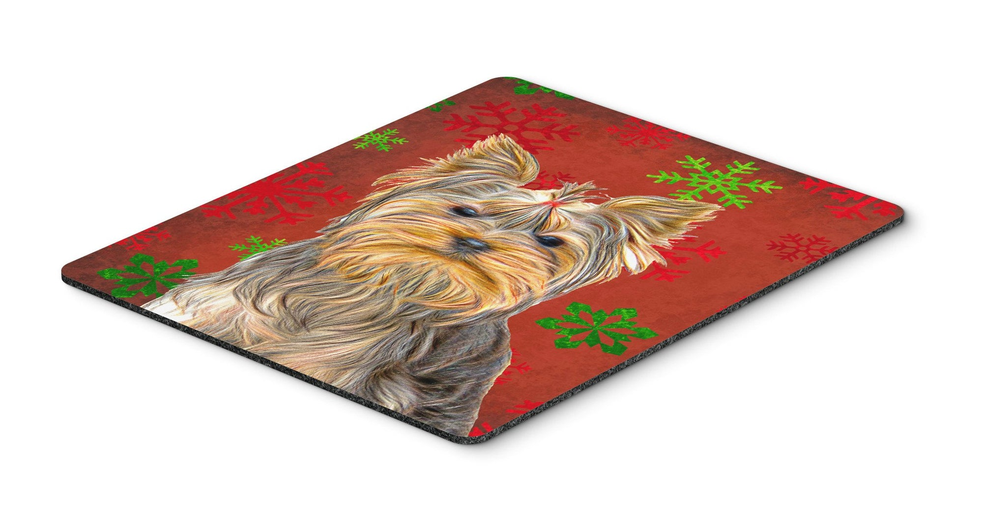 Buy this Red Snowflakes Holiday Christmas  Yorkie / Yorkshire Terrier Mouse Pad, Hot Pad or Trivet KJ1184MP