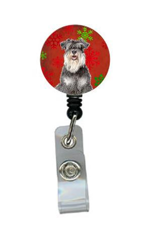 Red Snowflakes Holiday Christmas  Schnauzer Retractable Badge Reel KJ1185BR by Caroline's Treasures