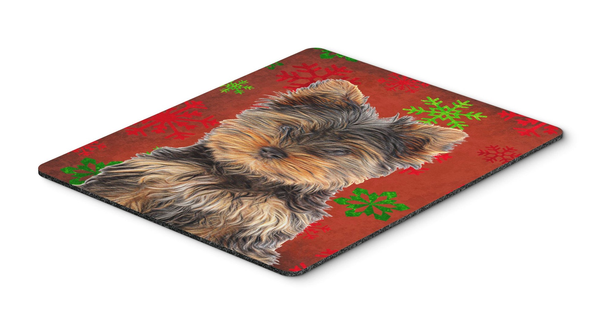 Buy this Red Snowflakes Holiday Christmas Yorkie Puppy / Yorkshire Terrier Mouse Pad, Hot Pad or Trivet KJ1188MP