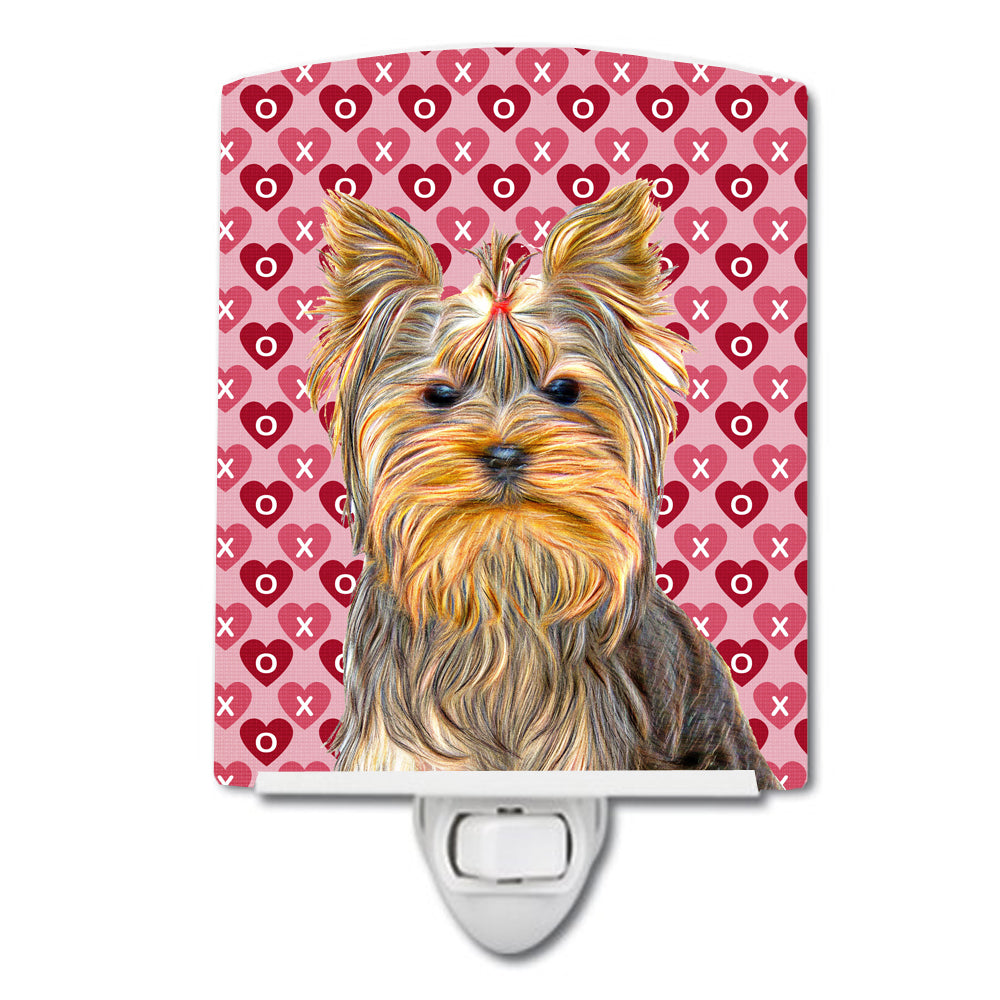 Hearts Love and Valentine's Day Yorkie / Yorkshire Terrier Ceramic Night Light KJ1191CNL by Caroline's Treasures