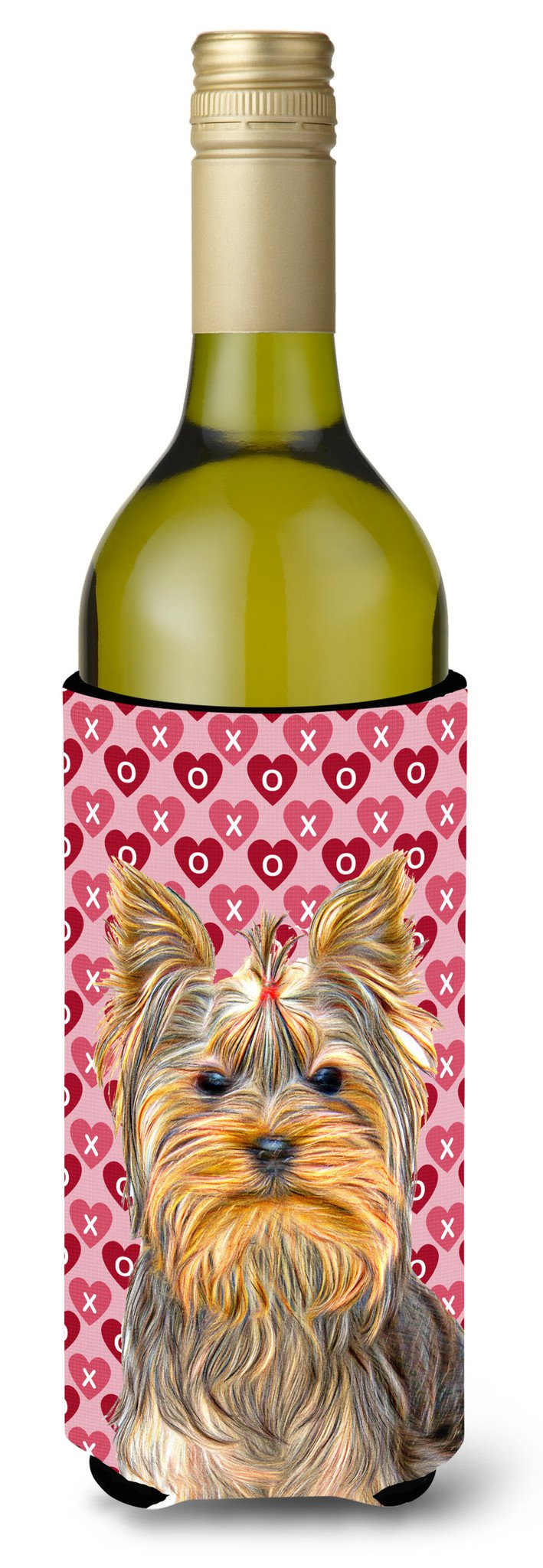 Hearts Love and Valentine's Day Yorkie / Yorkshire Terrier Wine Bottle Beverage Insulator Hugger KJ1191LITERK by Caroline's Treasures