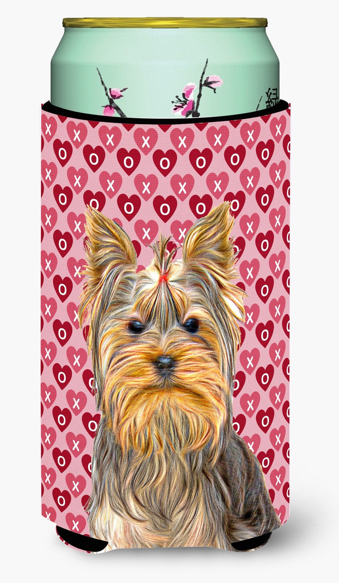 Hearts Love and Valentine's Day Yorkie / Yorkshire Terrier Tall Boy Beverage Insulator Hugger KJ1191TBC by Caroline's Treasures