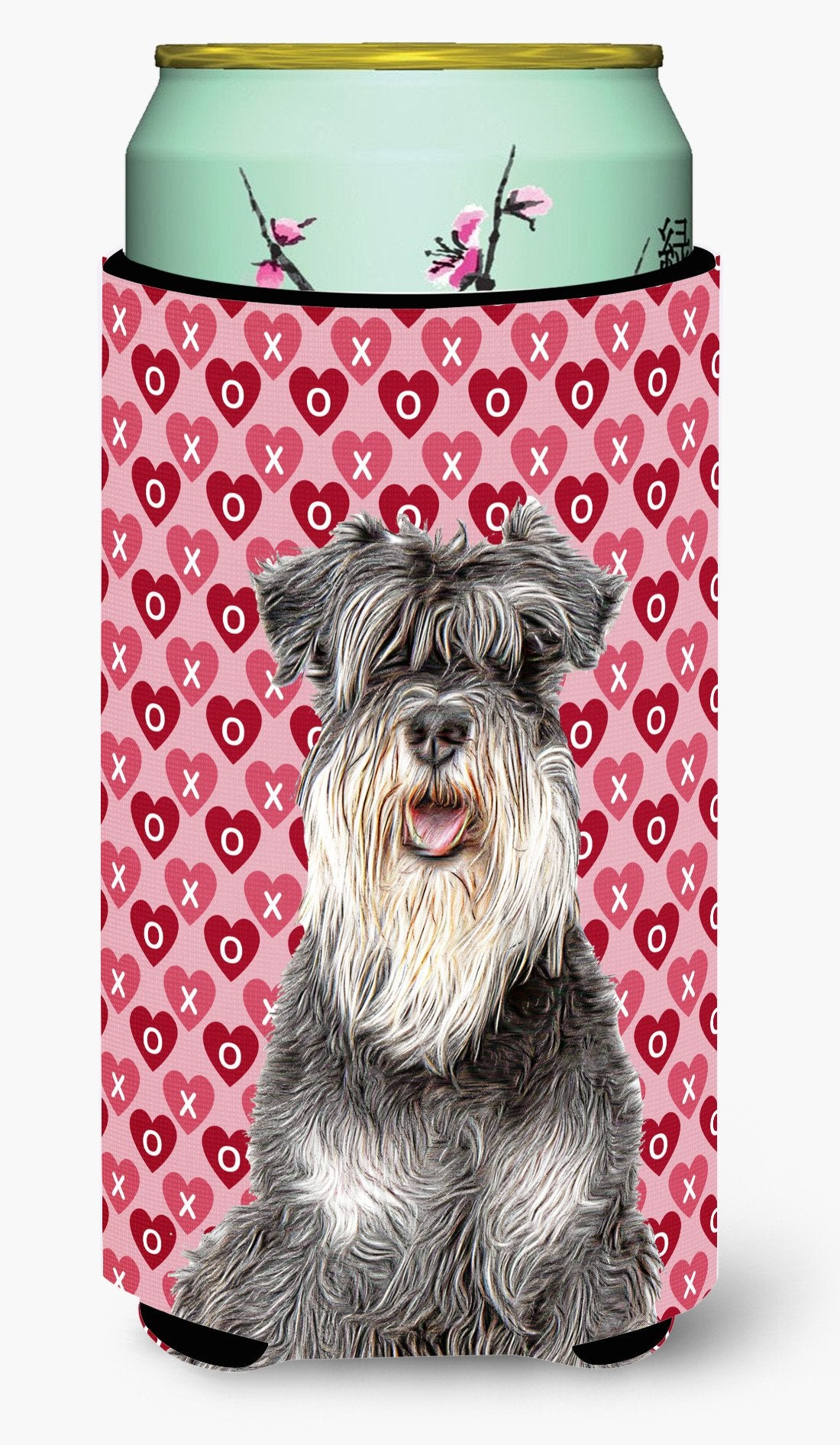 Hearts Love and Valentine's Day Schnauzer Tall Boy Beverage Insulator Hugger KJ1192TBC by Caroline's Treasures
