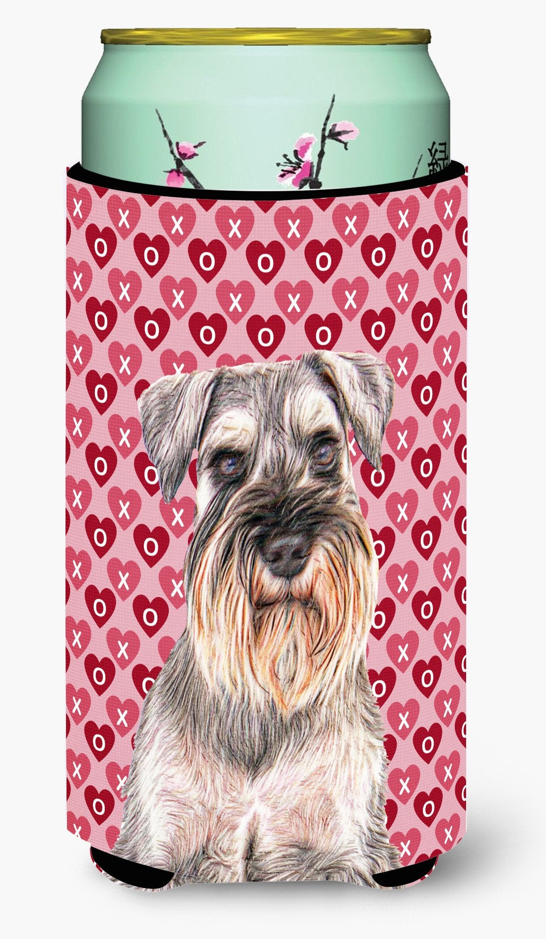 Hearts Love and Valentine's Day Schnauzer Tall Boy Beverage Insulator Hugger KJ1193TBC by Caroline's Treasures