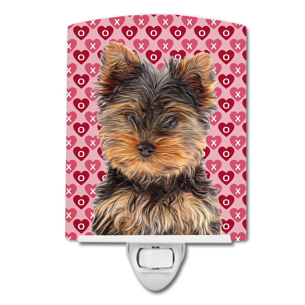 Hearts Love and Valentine's Day Yorkie Puppy / Yorkshire Terrier Ceramic Night Light KJ1195CNL by Caroline's Treasures