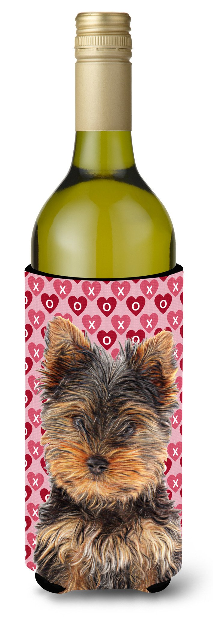Hearts Love and Valentine's Day Yorkie Puppy / Yorkshire Terrier Wine Bottle Beverage Insulator Hugger KJ1195LITERK by Caroline's Treasures