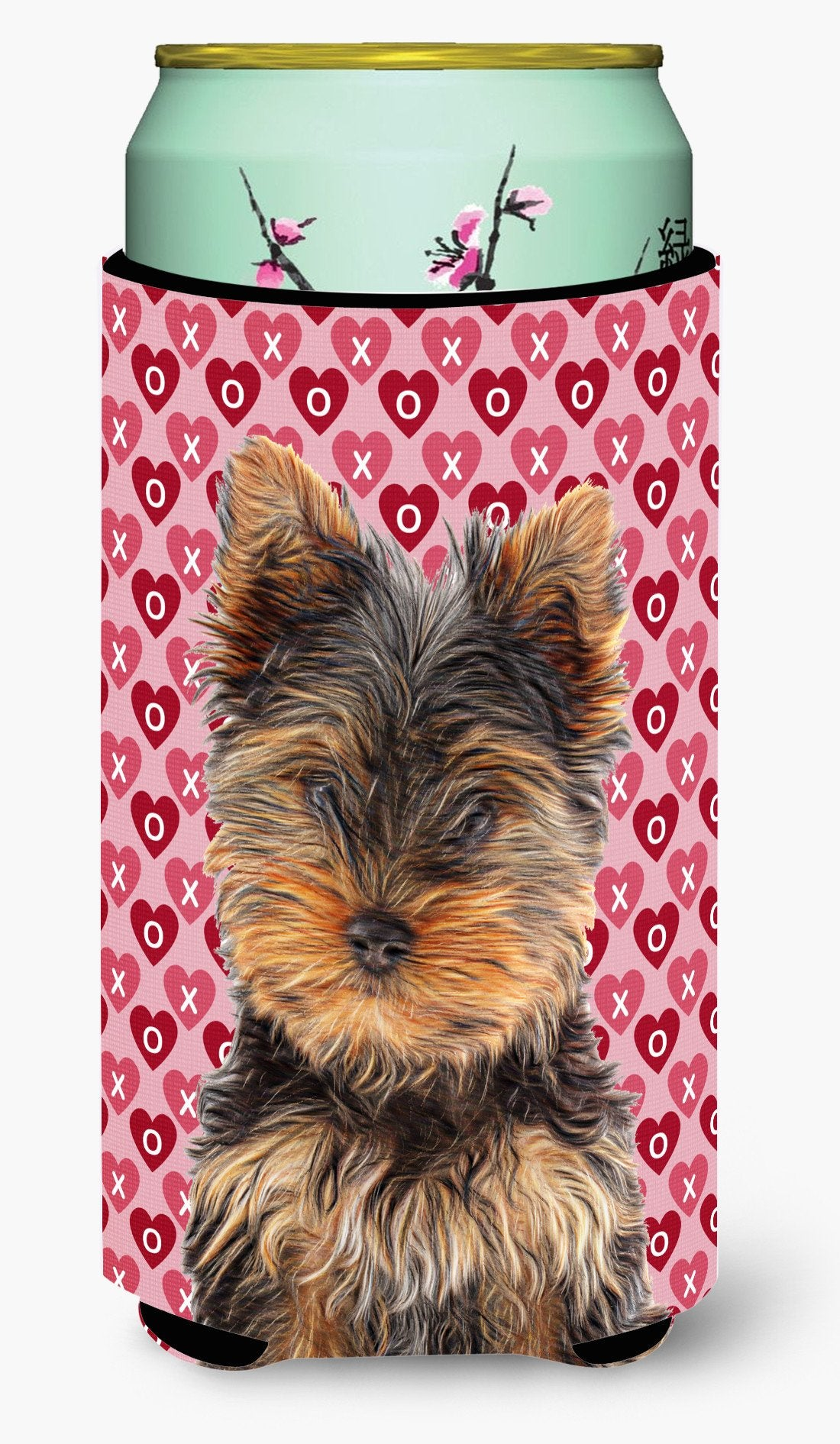 Hearts Love and Valentine's Day Yorkie Puppy / Yorkshire Terrier Tall Boy Beverage Insulator Hugger KJ1195TBC by Caroline's Treasures