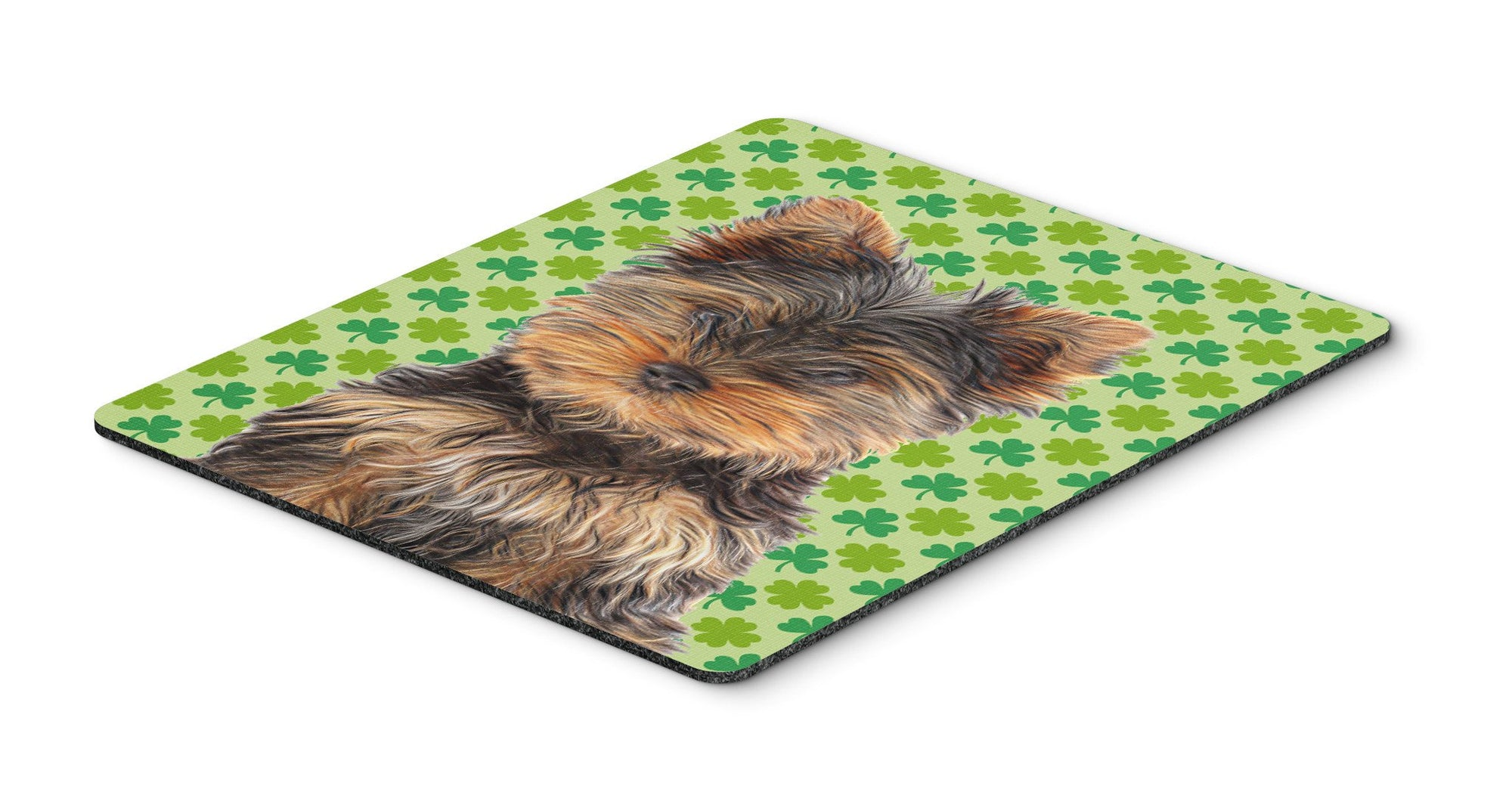 Buy this St. Patrick's Day Shamrock Yorkie Puppy / Yorkshire Terrier Mouse Pad, Hot Pad or Trivet KJ1202MP