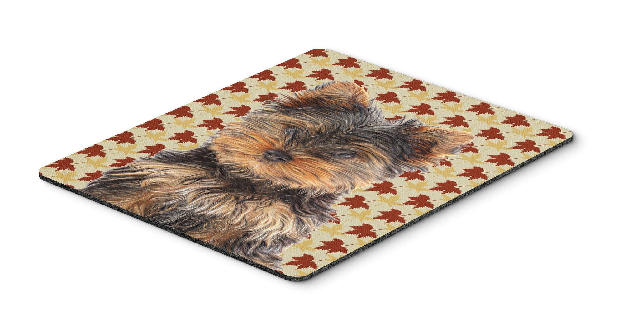 Fall Leaves Yorkie Puppy / Yorkshire Terrier Mouse Pad, Hot Pad or Trivet KJ1209MP by Caroline's Treasures