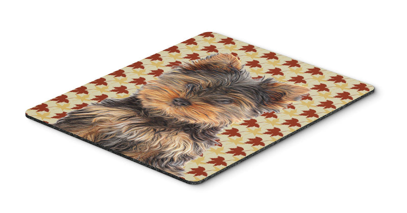 Buy this Fall Leaves Yorkie Puppy / Yorkshire Terrier Mouse Pad, Hot Pad or Trivet KJ1209MP