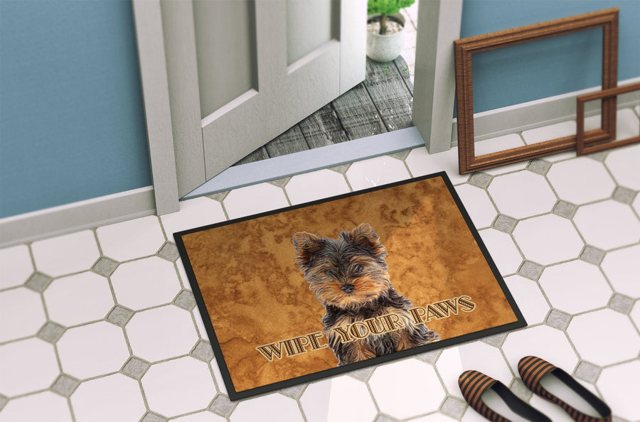 Buy this Yorkie Puppy / Yorkshire Terrier Wipe your Paws Indoor or Outdoor Mat 24x36 KJ1223JMAT