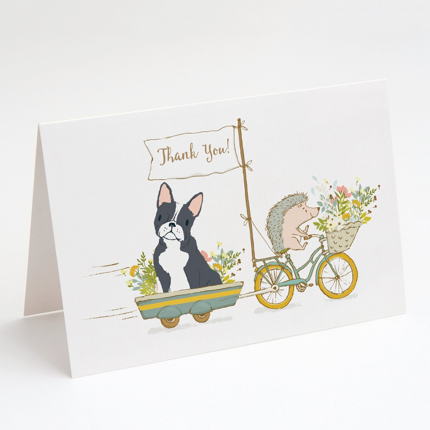 Buy this Boston Terrier Black and White Greeting Cards and Envelopes Pack of 8