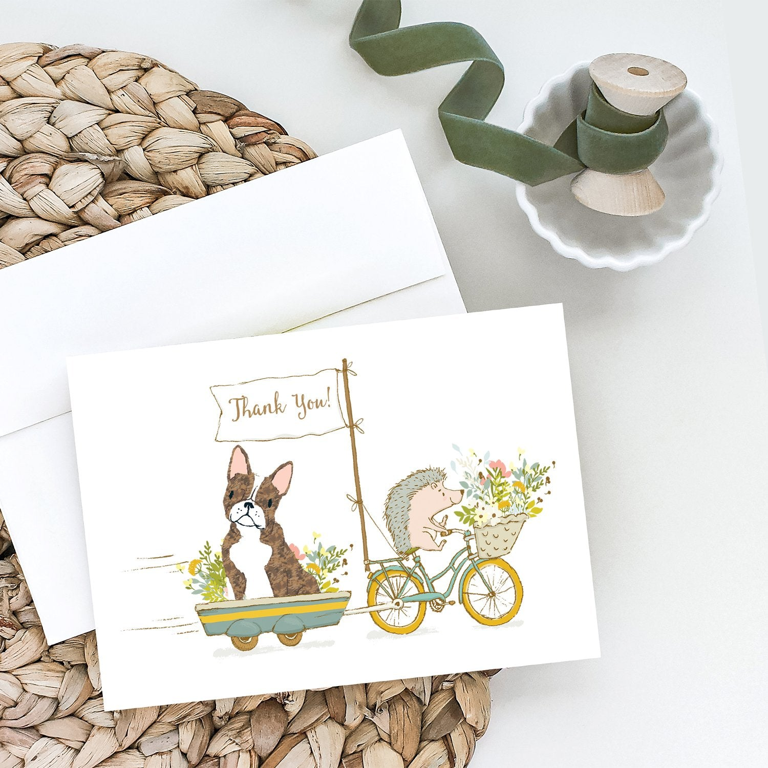 Buy this Boston Terrier Brindle and White Greeting Cards and Envelopes Pack of 8