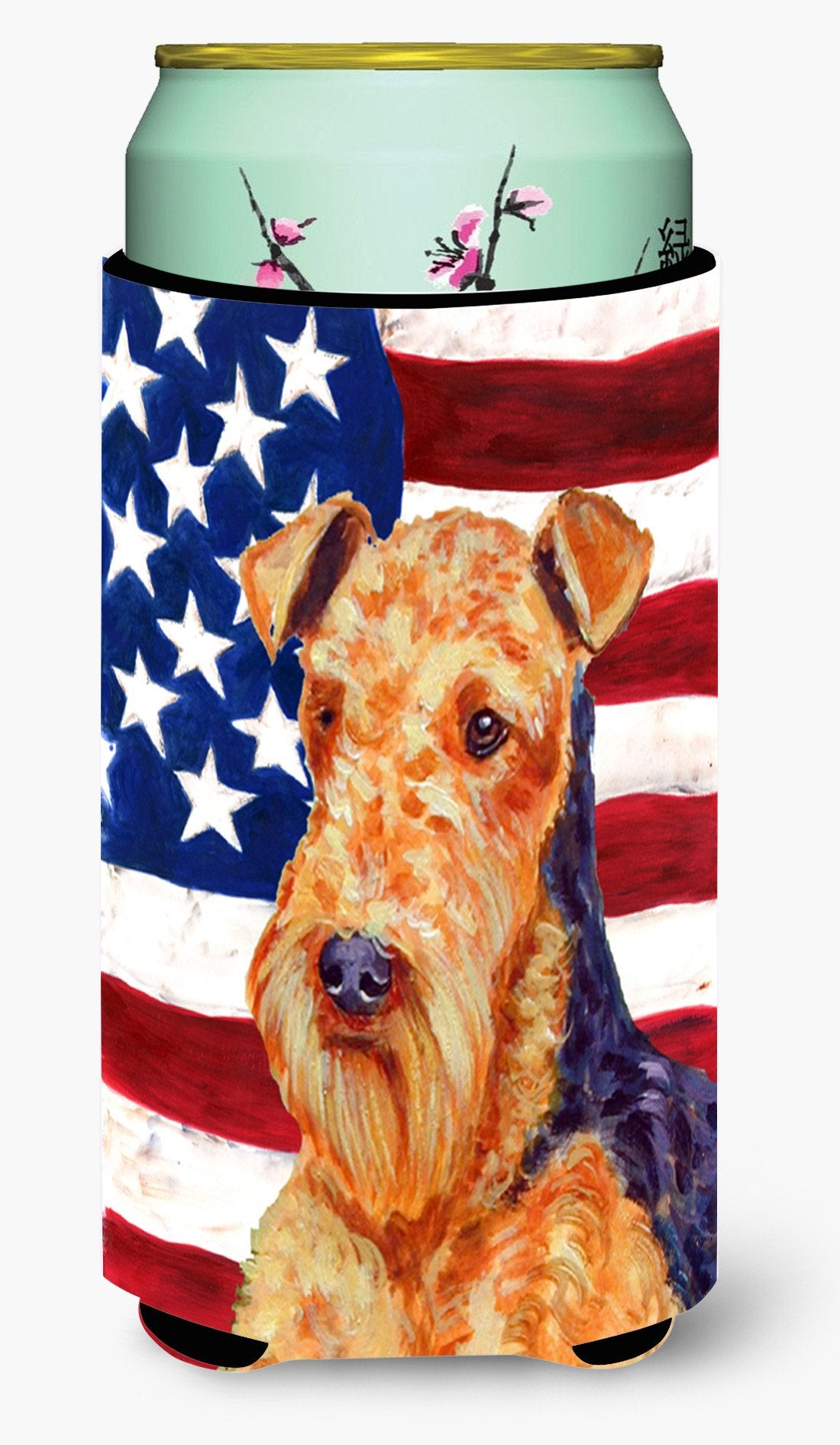USA American Flag with Airedale  Tall Boy Beverage Insulator Beverage Insulator Hugger by Caroline's Treasures