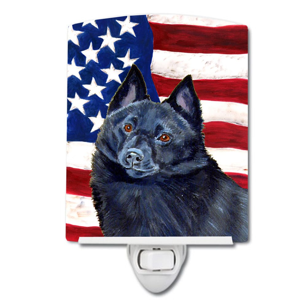 USA American Flag with Schipperke Ceramic Night Light LH9009CNL by Caroline's Treasures