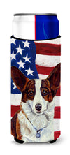USA American Flag with Corgi Ultra Beverage Insulators for slim cans LH9011MUK by Caroline's Treasures