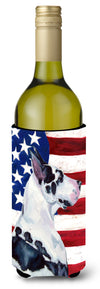 Buy this USA American Flag with Great Dane Wine Bottle Beverage Insulator Beverage Insulator Hugger
