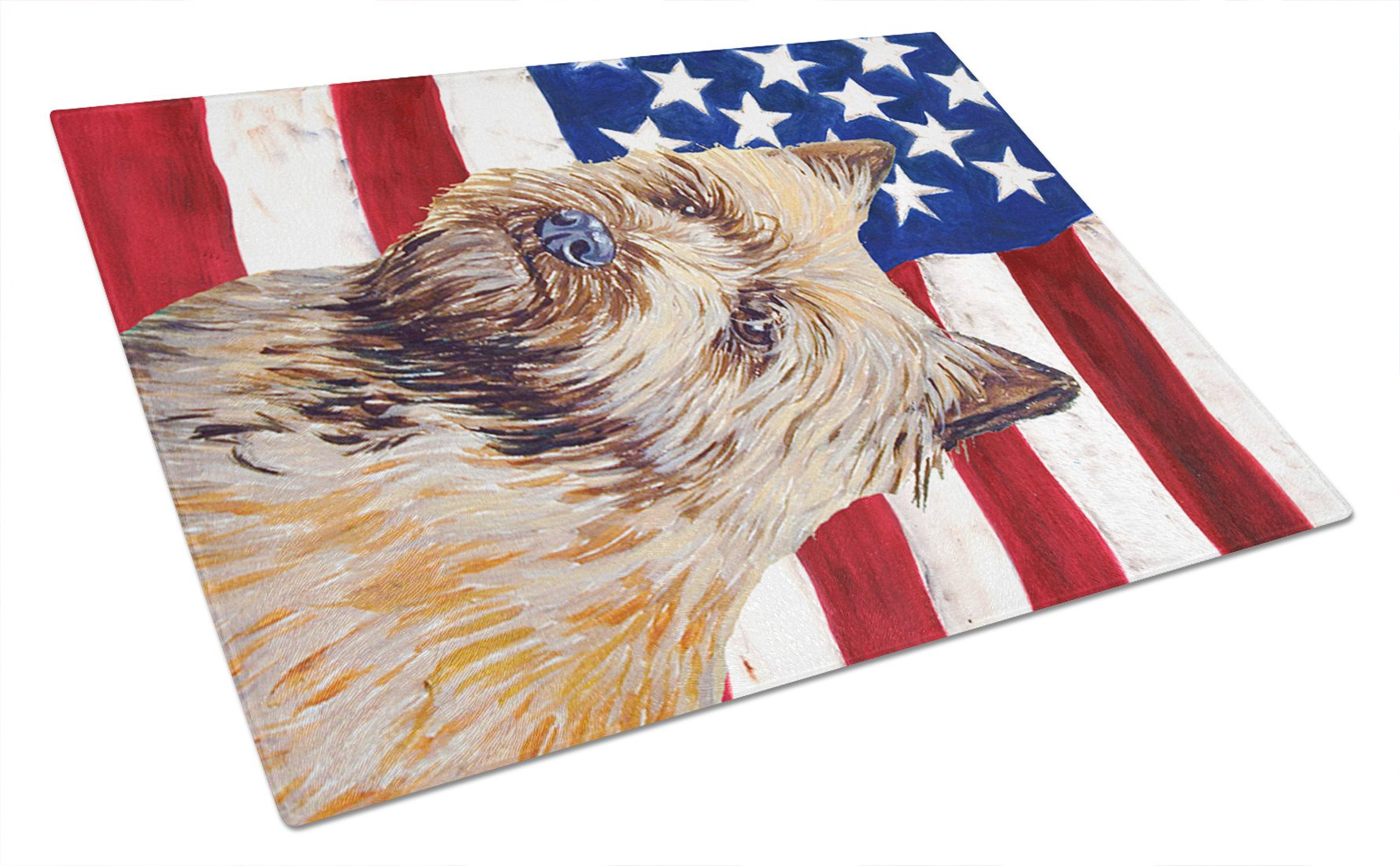 USA American Flag with Cairn Terrier Glass Cutting Board Large by Caroline's Treasures