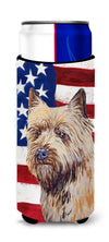 USA American Flag with Cairn Terrier Ultra Beverage Insulators for slim cans LH9020MUK by Caroline's Treasures
