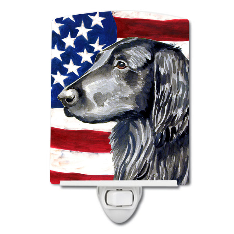 Buy this USA American Flag with Flat Coated Retriever Ceramic Night Light LH9021CNL