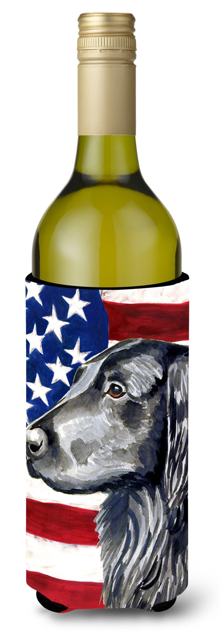 Buy this USA American Flag with Flat Coated Retriever Wine Bottle Beverage Insulator Beverage Insulator Hugger