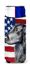 USA American Flag with Flat Coated Retriever Ultra Beverage Insulators for slim cans LH9021MUK by Caroline's Treasures