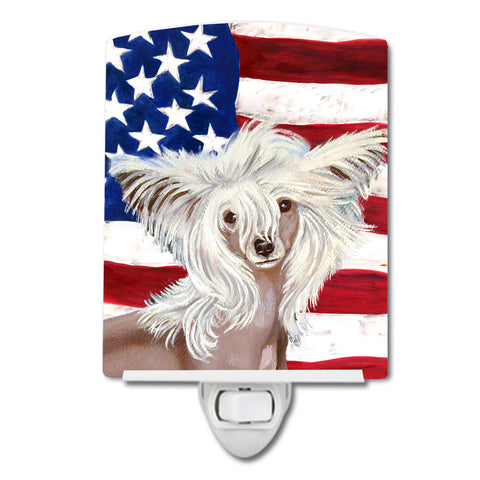Buy this USA American Flag with Chinese Crested Ceramic Night Light LH9031CNL