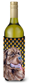 Newfoundland Candy Corn Halloween Portrait Wine Bottle Beverage Insulator Beverage Insulator Hugger by Caroline's Treasures