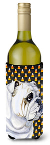 Bulldog English Candy Corn Halloween Portrait Wine Bottle Beverage Insulator Beverage Insulator Hugger by Caroline's Treasures