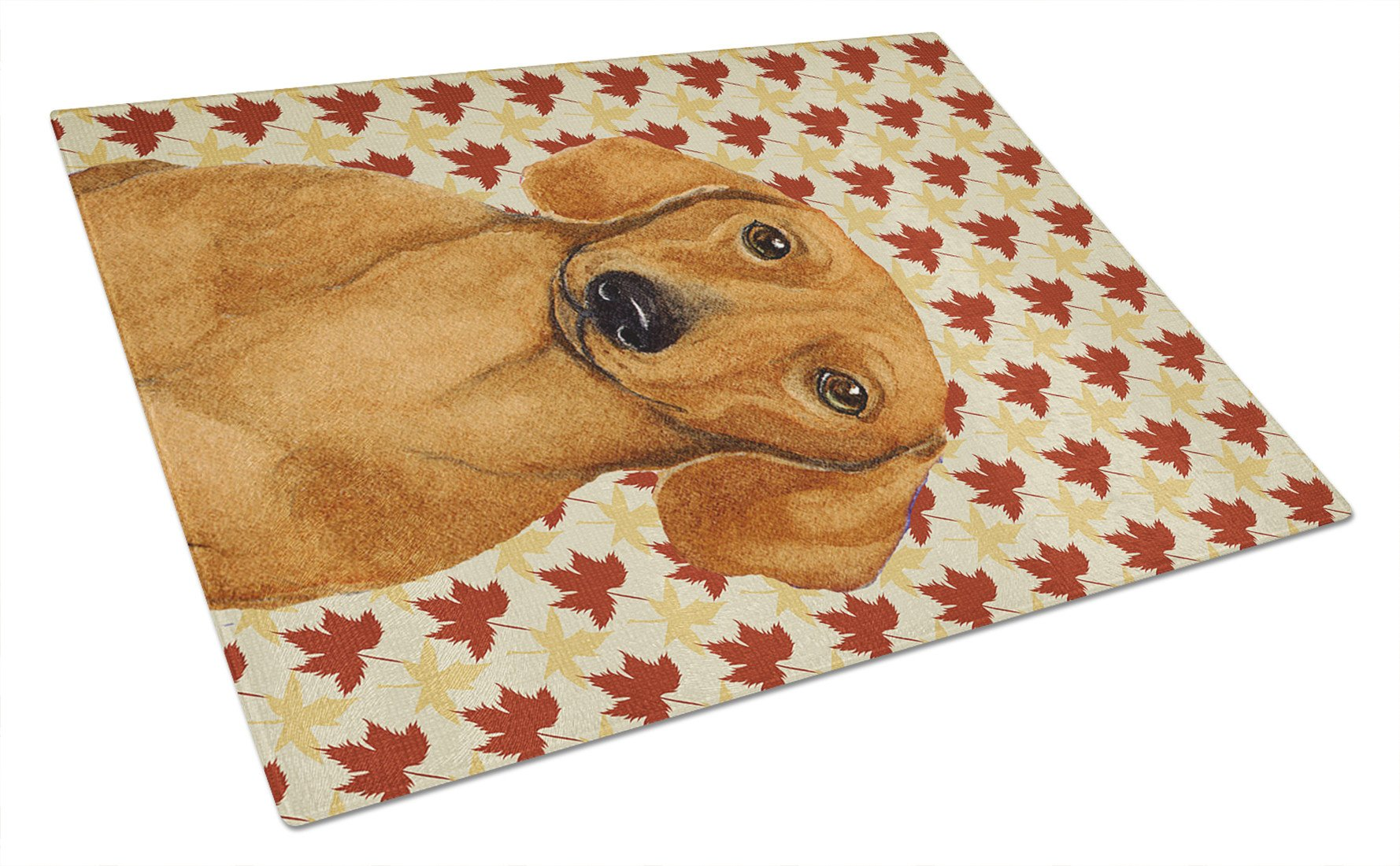 Dachshund Fall Leaves Portrait Glass Cutting Board Large by Caroline's Treasures