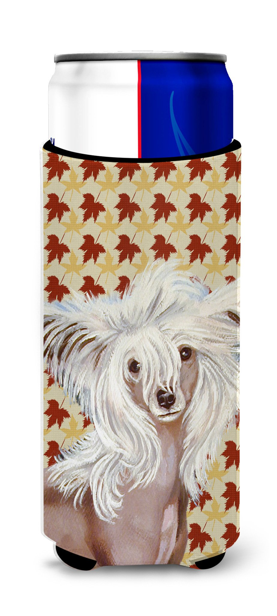 Chinese Crested Fall Leaves Portrait Ultra Beverage Insulators for slim cans LH9122MUK by Caroline's Treasures