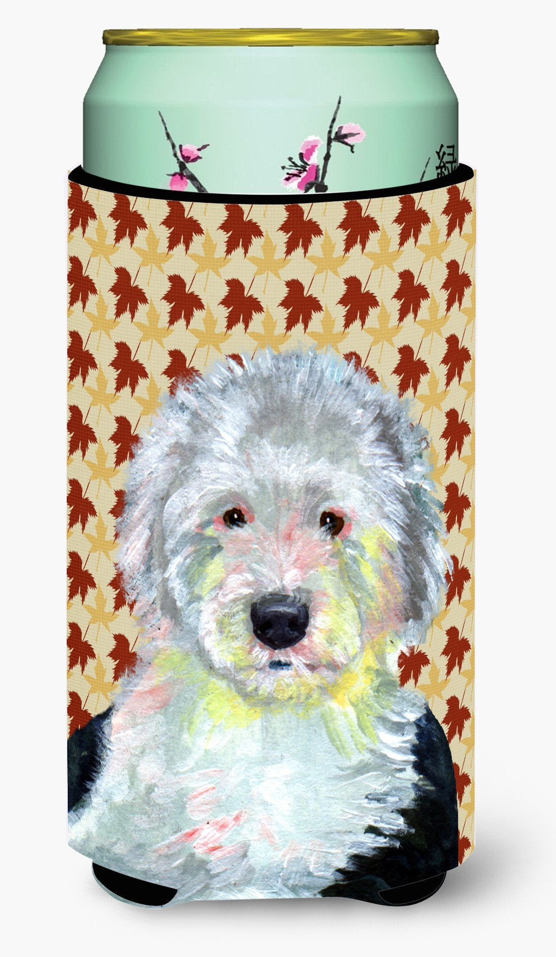 Old English Sheepdog Fall Leaves Portrait  Tall Boy Beverage Insulator Beverage Insulator Hugger by Caroline's Treasures