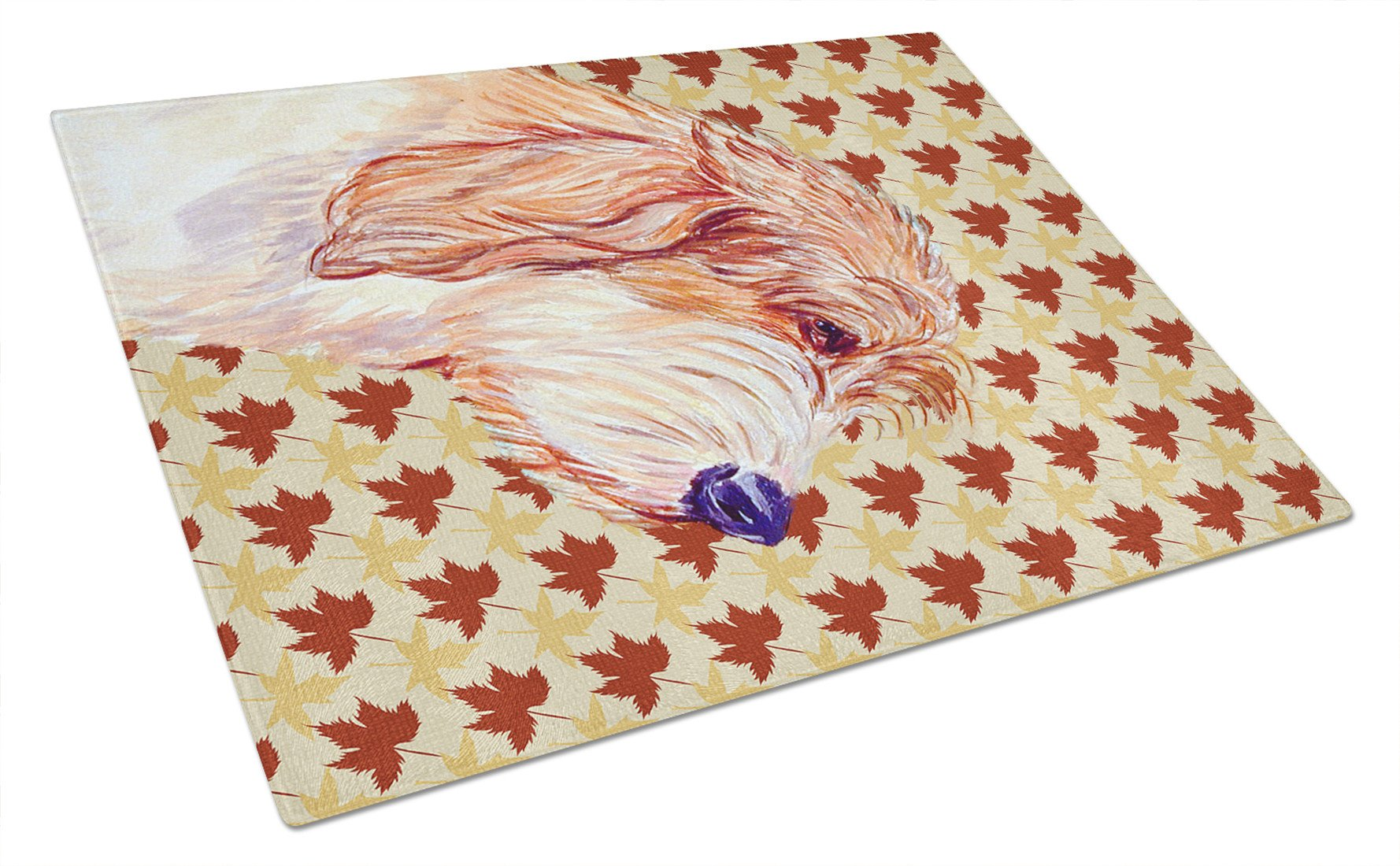 Petit Basset Griffon Vendeen Fall Leaves Portrait Glass Cutting Board Large by Caroline's Treasures