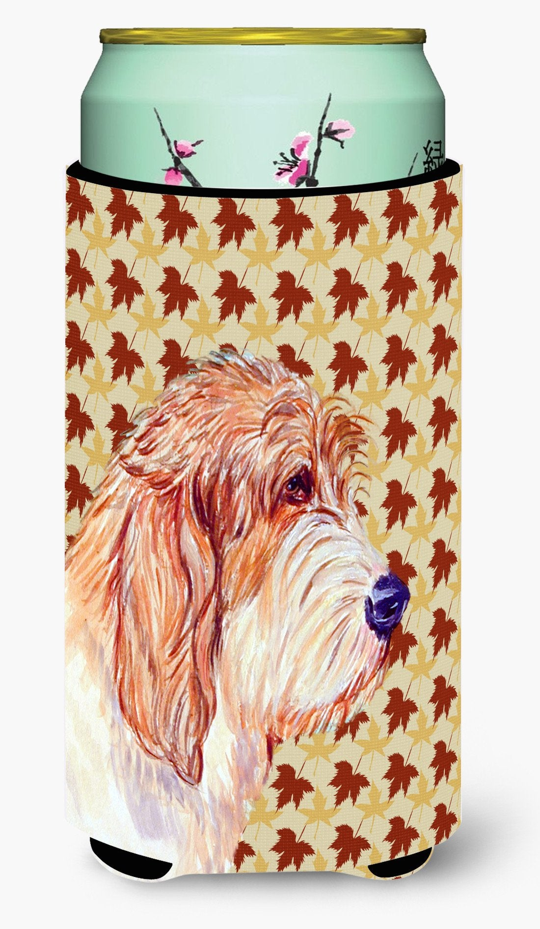 Petit Basset Griffon Vendeen Fall Leaves Portrait  Tall Boy Beverage Insulator Beverage Insulator Hugger by Caroline's Treasures