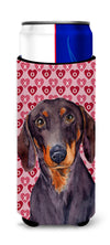 Dachshund Hearts Love and Valentine's Day Portrait Ultra Beverage Insulators for slim cans LH9133MUK by Caroline's Treasures