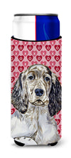 English Setter Hearts Love and Valentine's Day Portrait Ultra Beverage Insulators for slim cans LH9142MUK by Caroline's Treasures