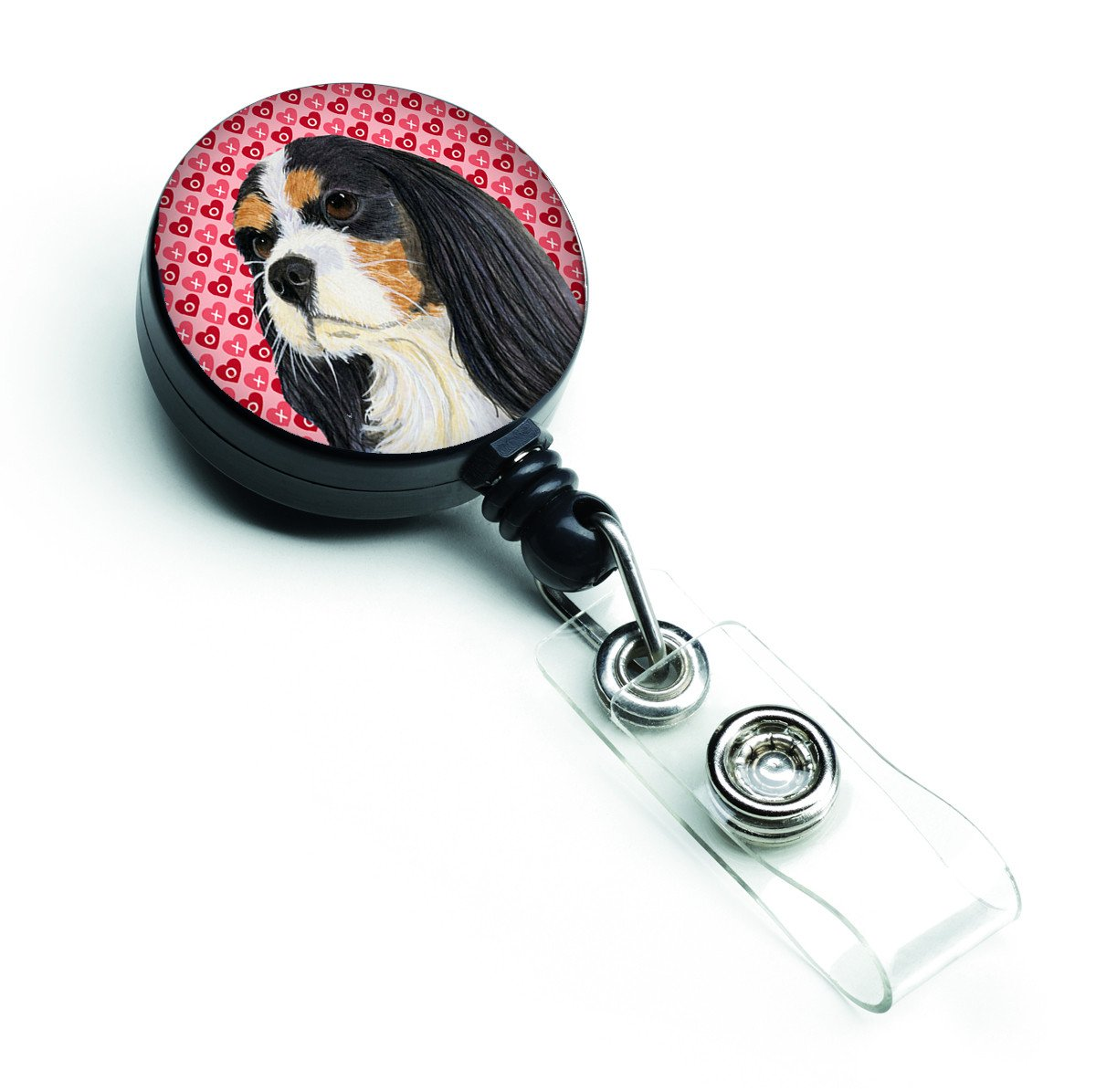 Cavalier Spaniel Love and Hearts Retractable Badge Reel or ID Holder with Clip by Caroline's Treasures