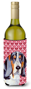 Buy this Basset Hound Hearts Love and Valentine's Day Portrait Wine Bottle Beverage Insulator Beverage Insulator Hugger