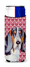 Basset Hound Hearts Love and Valentine's Day Portrait Ultra Beverage Insulators for slim cans LH9147MUK by Caroline's Treasures