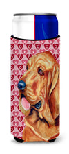Bloodhound Hearts Love and Valentine's Day Portrait Ultra Beverage Insulators for slim cans LH9151MUK by Caroline's Treasures