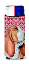 Basset Hound Hearts Love and Valentine's Day Portrait Ultra Beverage Insulators for slim cans LH9152MUK by Caroline's Treasures