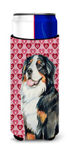 Bernese Mountain Dog Hearts Love and Valentine's Day Portrait Ultra Beverage Insulators for slim cans LH9154MUK by Caroline's Treasures